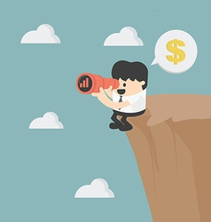 Businessman looking on cliff vector