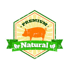 Butcher shop vintage logo natural food farm logo vector