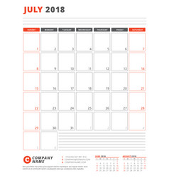 Calendar template for 2018 year july business vector