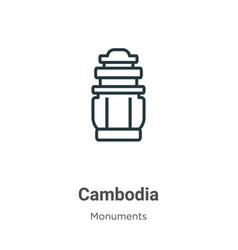 Cambodia outline icon thin line black vector