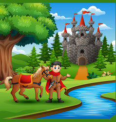 cartoon of prince holding a horse on the river vector image