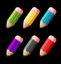 cartoon set colored wood pencils vector image