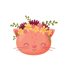 Cat muzzle with flower wreath flora and fauna vector