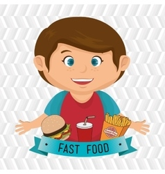 child cartoon boy fast food vector image