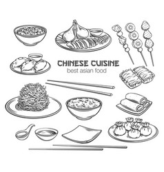 Chinese cuisine outline icon vector