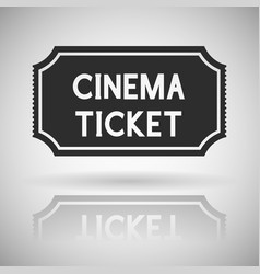 cinema ticket black flat icon with shadow and vector image