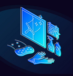 Cleaning services isometric color vector