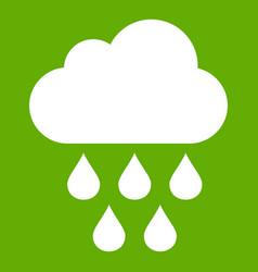 cloud with rain drops icon green vector image