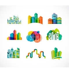 Colorful real estate city and skyline icons vector