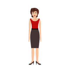 Colorful silhouette of woman with red blouse and vector