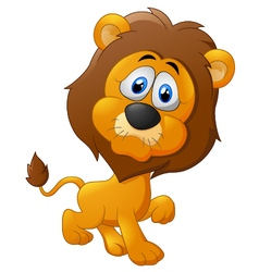 Cute lion cartoon walking vector