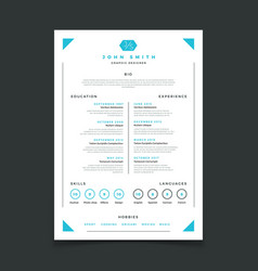 Cv template professional resume design with vector