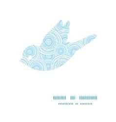 Doodle circle water texture bird silhouette vector