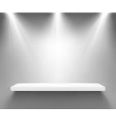 Empty white shelf illuminated three spotlights vector