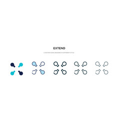 Extend icon in different style two colored and vector