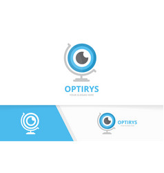 eye and globe logo combination optic and vector image