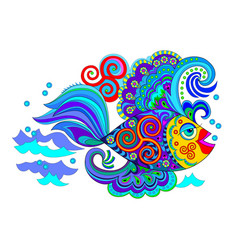 Fantastic fish with celtic ornament cover vector