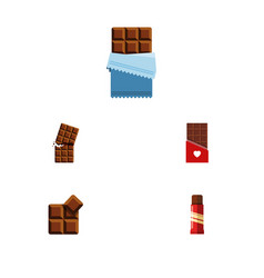 Flat icon sweet set of cocoa chocolate bitter vector