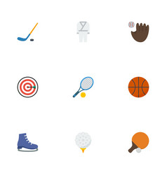 flat icons puck basket uniform and other vector image