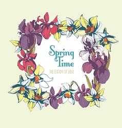 Floral flower narcissus iris hand drawn vintage vector image