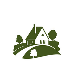 Green house icon with garden tree plant and lawn vector