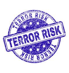 Grunge textured terror risk stamp seal vector