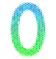 halftone blue-green zero digit icon vector image