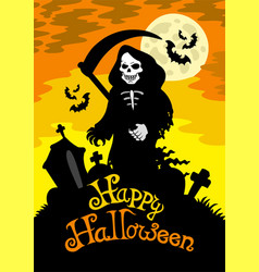 halloween theme with grim reaper vector image
