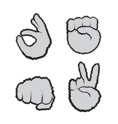 Hand gestures set people emotion icon collection vector