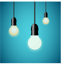 hanging light bulbs glowing on blue background vector image