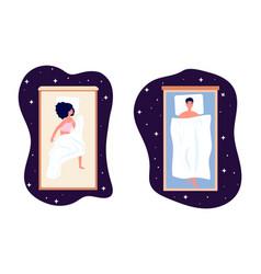 healthy sleep woman man bedtime girl on comfort vector image
