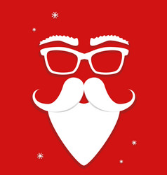 Hipster white santa claus mask on red background vector