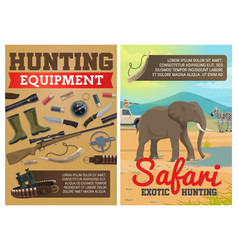 hunting ammo african safari animals vector image