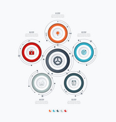 infographics template 5 options with circle vector image