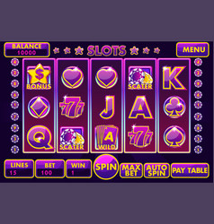 interface slot machine in purple colored vector image