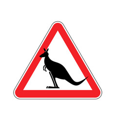 kangaroo warning sign wallaby hazard attention vector image