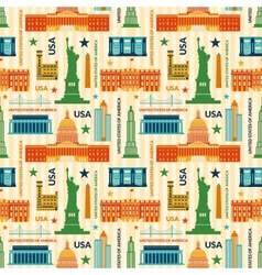 Landmarks of United States of America seamless vector image