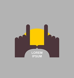 logo of hands Sunset vector image