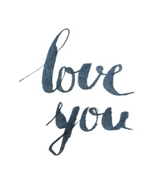 Love you inscription on white background vector image