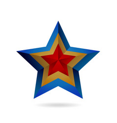 luxury bluegold and red gradient star logo vector image