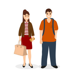 Man and woman travelers tourists with a bag vector