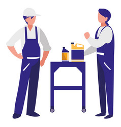 Mechanics workers with oil gallon characters vector