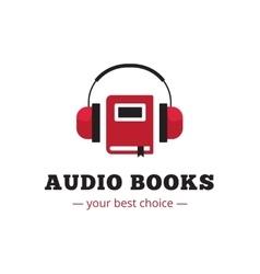 Modern audio books store logo red book vector
