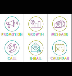 modern gadgets functions linear round icons set vector image