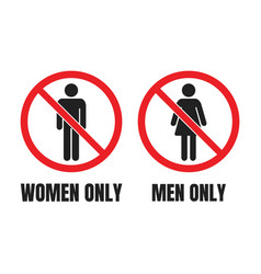 No men or no women signs men only and women only vector