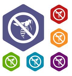 No wasp sign icons set vector