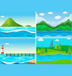ocean scenes with green hills vector image