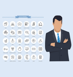 office thin line icons businessman with set of vector image