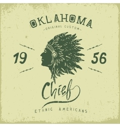 old label with indian chief head in profile vector image