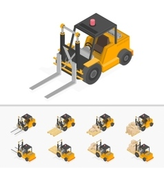 Orange forklift truck vector image